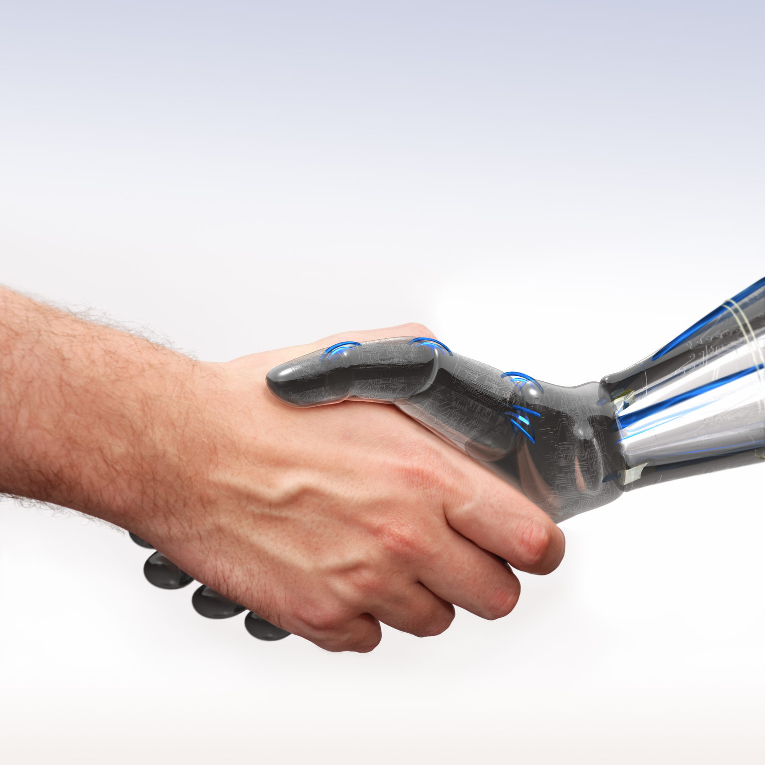 Variation of the classic handshake concept shot with a human hand and a robot hand.Very detailed rendering of the robotic hand, zoom in to view.